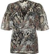 River Island Womens Cream snake print frill cape top