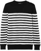 Balmain Button-detailed Striped Open-knit Sweater - Black