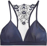 Commando Crown Embroidered Tulle And Stretch Soft-cup Triangle Bra