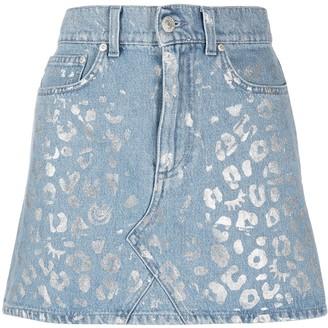Chiara Ferragni Metallic Leopard Print Skirt