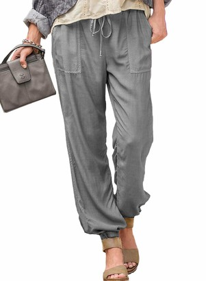 Dokotoo Womens Sports Jogger Pants Drawstring Elastic Waist Casual Trousers Tracksuit Bottoms with Pockets Brown Size 6 8