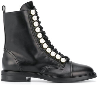 Casadei Biker Faux Pearl-Embellished Boots