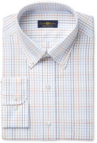 Club Room Estate Men's Classic-Fit Wrinkle-Resistant Rust Blue Windowpane Dress Shirt, Only at Macy's