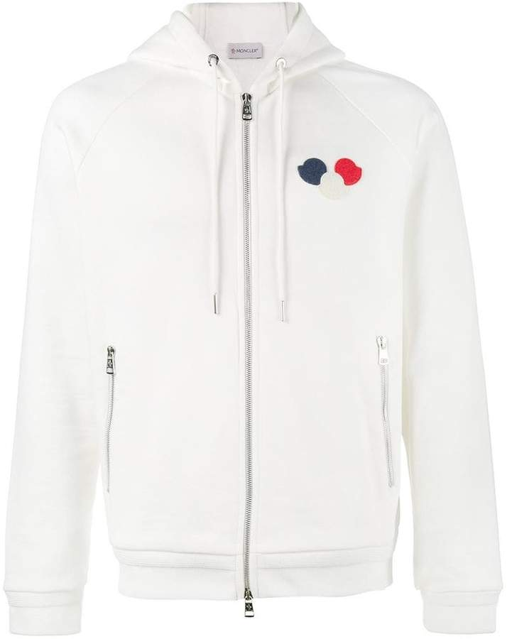 Moncler logo patch zip-up hoodie