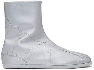 Maison Margiela Silver Metallic Flat Tabi Boots