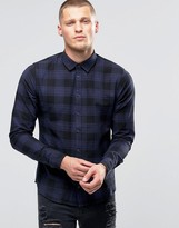 Blend of America Slim Check Shirt Blue Nights