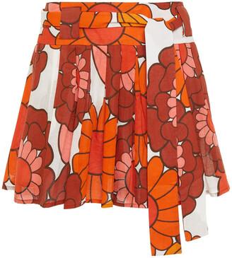 Dodo Bar Or Milli Pleated Floral-print Cotton Mini Skirt