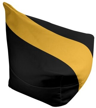 "3.1 Phillip Lim Boston Hockey Bean Bag W/ Filled Insert East Urban Home Fabric: Black/Yellow, Size: 42"" H x 38"" W x D"