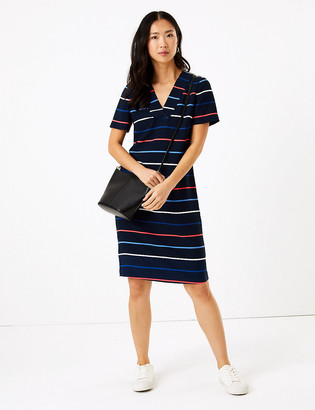 Marks and Spencer Crepe Striped V-Neck Shift Dress