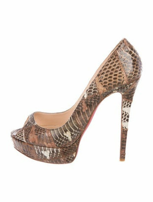 Christian Louboutin Python Peep-Toe Pumps Brown