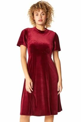 Roman Originals Women High Neck Short Angel Sleeve Velvet Dress - Ladies Smart Formal Evening Christmas New Years Eve Party Celebration Special Occasion Dresses - Wine - Size 14