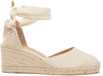 Castaner Carina 60 Canvas & Jute Wedge Espadrilles - Cream