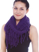Simplicity Warm Infinity Scarf in Detailed Knit Pattern w/ Tassels