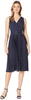Vince Camuto Sleeveless Ditsy Fragments Pleated Belted Dress (Caviar) Women's Dress