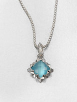 Blue Cat's-Eye Doublet & Sterling Silver Pendant Necklace