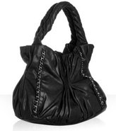 black leather 'Harlow' gathered shoulder bag