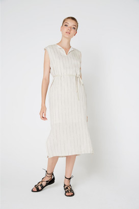 Ropachica - Sand Cotton Stripe Neske Dress - S - Grey/White/Black