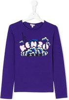 Kenzo logo clouds print top - kids - Cotton/Spandex/Elastane - 14 yrs