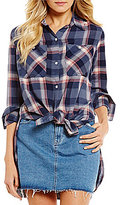 Roxy Feel The Burn Plaid Tie-Front Slim Boyfriend Shirt