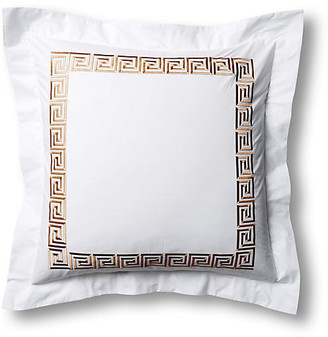 Hamburg House Greek Key Euro Sham - White/Tan