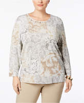 Alfred Dunner Plus Size Metallic-Knit Jeweled Sweater