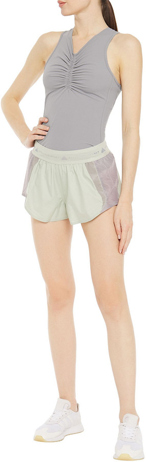 Thumbnail for your product : adidas by Stella McCartney Mesh-trimmed Ruched Stretch Tank