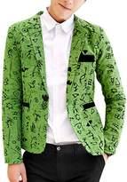 uxcell® Men Notched Lapel Allover Novelty Print Back Vent Linen Blazer M