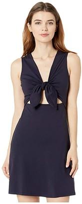 Susana Monaco Bow Front Sleeveless Cutout Dress (Midnight) Women's Dress