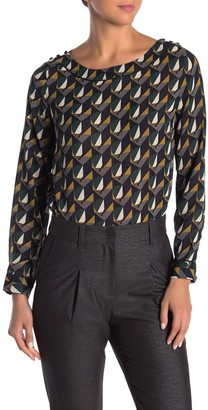 FRNCH Long Sleeve Abstract Print Blouse