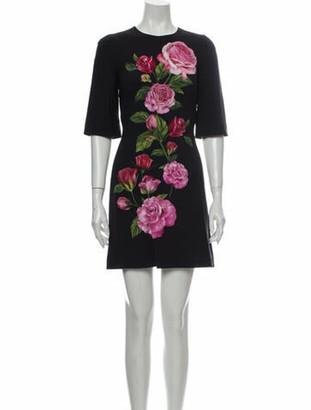 Dolce & Gabbana Floral Print Mini Dress Black