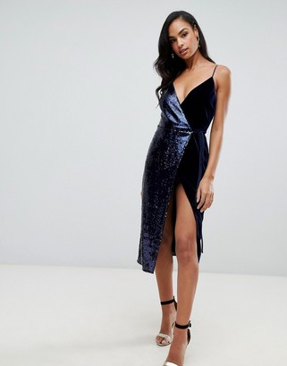 ASOS DESIGN sequin and velvet cami wrap midi dress
