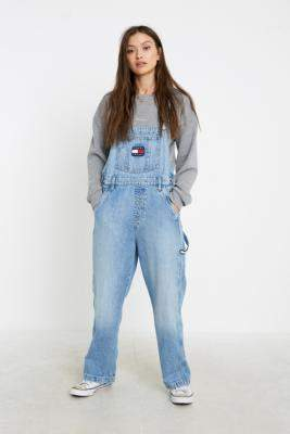 Tommy Jeans Light Wash Denim Dungarees - blue 25 at Urban Outfitters