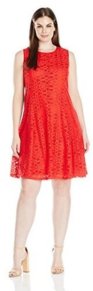 Tiana B T I A N A B. Women's Plus Size Crochet Lace Dress with Contrast Lining