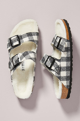 Birkenstock Plaid Arizona Shearling-Lined Sandals By in Black Size 38