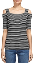 Whistles Stripe Cold Shoulder Knit Top