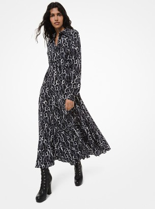 Michael Kors Collection Dance-Print Crushed Silk Crepe De Chine Shirtdress