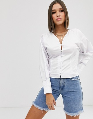NA-KD Na Kd puff sleeve v-neck blouse in white