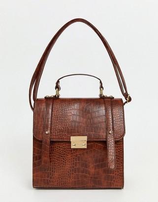 Asos Design DESIGN push lock satchel in croc-Brown