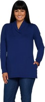 Denim & Co. French Terry Long Sleeve Rib Shawl Collar Tunic
