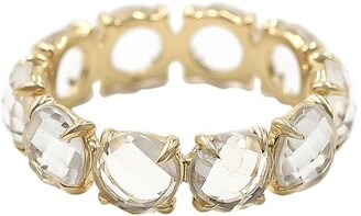 BONDEYE JEWELRY 14kt Yellow Gold Rock Crystal Eternity Band Ring