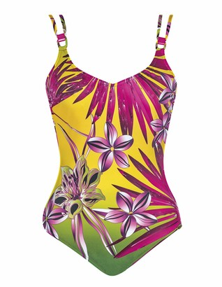 Sunflair 22279-63 Women's Botanical Paradise Yellow Floral Underwired Low Back Swimsuit 40 - D Cup