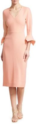 Lela Rose Handkerchief Cuff Wool Crepe Sheath Dress