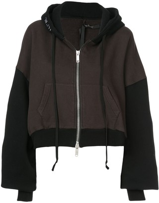 Unravel Project two-tone cropped hoodie