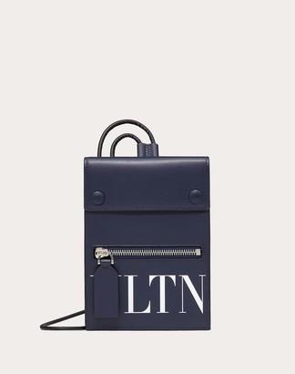 Valentino Garavani Uomo Vltn Phone Case With Neck Strap Man Blue Bovine Leather 100% OneSize