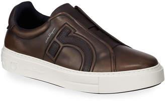 Salvatore Ferragamo Men's Tasko Slip-On Leather Sneakers