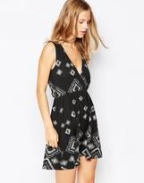 Vila Printed Wrap Front Dress