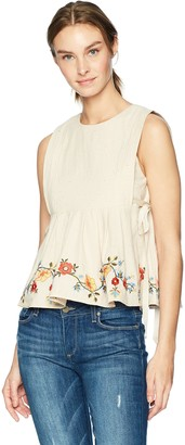 J.o.a. Women's Embroidered Crew Neck Sleeveless Pleated TOP with Side Ties