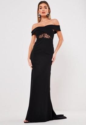 Missguided Black Lace Insert Bardot Maxi Dress