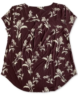 Alfani Botanical-Print Knit Top, Created for Macy's