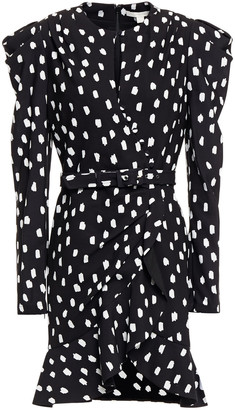 Jonathan Simkhai Wrap-effect Belted Polka-dot Crepe Mini Dress